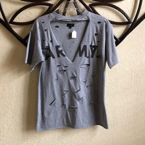 Tops - Distressed Army T-Shirt